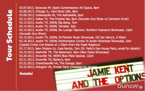 Jamie Kent and The Options Tour 2013